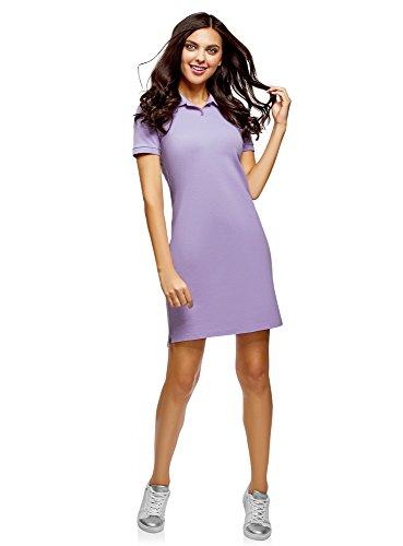 Strukturierte Baumwolle Kleid (oodji Ultra Damen Polo Pique-Kleid, Violett, DE 36 / EU 38 / S)