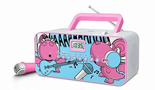 Muse M-29 KDG Kinder CD Player mit Mikrofon und Sing-A-Long Karaoke Funktion (CD / MP3, USB, AUX-In, LCD-Display, Teleskopantenne), rosa (Sing A Long Cd-mp3-player)