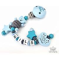 Schnullerkette mit Namen - Bär mit Häkelperle - Schutzengel - Kleiner Prinz - Stern -Junge - blau - grau - türkis - C004 - C002 - C005 - C006