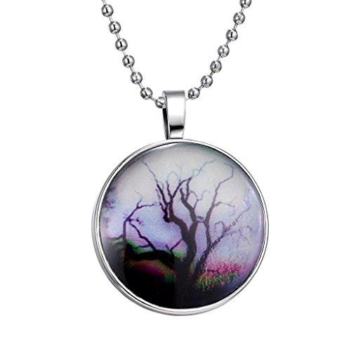 Jiayiqi Groteske Leben des Baumes Wundersame Landschaft Muster Nacht Lichter Gemme Halskette Für Frauen (Nacht Leben Licht)
