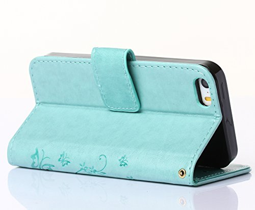C-Super Mall-UK Apple iPhone 6 / 6s 4.7 Inch custodia,sbalzato farfalla & fiore modello PU Pelle Portafoglio Stand Flip cover per Apple iPhone 6 / 6s 4.7 Inch green