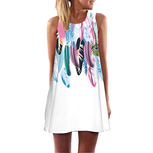 MOMOXI Vestido para Las Mujeres, Mini Vestido Corto Corto de Moda de la Vendimia de la impresión de la Playa del Verano de Las Mujeres sin Mangas de Boho Vestido de la túnica del Boho del Halter