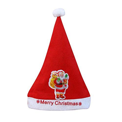 Bonnet de Noël, Feixiang & # X2648; 2017NEUF Bonnet de Noël enfants et adultes et LED Père Noël Renne Bonhomme de neige Casquette de cadeaux de Noël Multicolour B