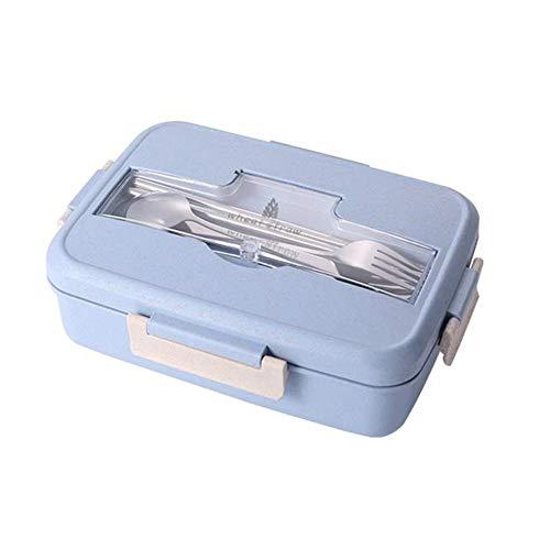 Zleimjab Langlebig Bento Lunchbox Tragbare Weizenstroh-Picknickmikrowelle Bento Frischhaltedose 3-Fach Lunchbox Frischhaltedose Auslaufsicher (Inklusive Besteck) (Color : Blau) - Haben Box Die Engel Die Blue