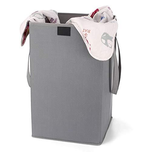 Brilliantjo, cesto portabiancheria pieghevole in lino grigio con coperchio e manici, adatto per camera da letto, lavanderia, bagno