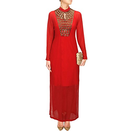Generic Women\'s Georgette Semi Stiched Dress Material (Red)