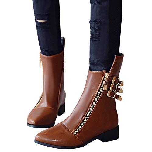 TianWlio Stiefel Frauen Herbst Winter Schuhe Stiefeletten Boots Mode Erwachsene Retro Zip Metall Leder Stiefeletten Runde Kappe Freizeit Schuhe Braun 41