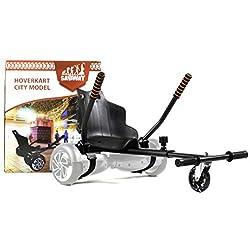 SABWAY® Hoverkart Hoverboard - Apto para Niños y Adultos - 6.5 Pulgadas - Compatible con Todos Los Modelos - Nuevos Velcros Más Resistentes y Rueda LED (Negro LED)