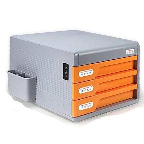 KQKLQQ File Cabinet Mobile 4 cassetto Password del File di Blocco di plastica Data Storage Box Cabinet Arancione Rosso Organizer 30 * 38 * 27 cm (Size : Three Drawers)