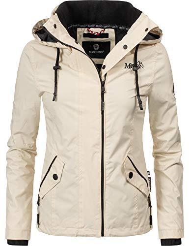 Marikoo Damen Übergangsjacke mit Kapuze Maliaa Cream Gr. S Front Zip Windbreaker Jacke