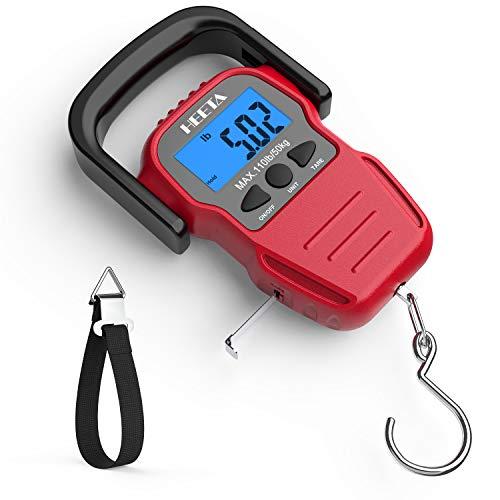HEETA Fischwaage mit Hintergrundbeleuchtung, LCD-Display, digital, tragbare Hängewaage mit Maßband für Zuhause und Outdoor, 2 AAA-Batterien im Lieferumfang enthalten, rot, Medium