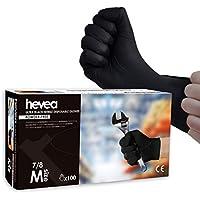 Hevea - Gants jetables très épais en nitrile. Sans talc et sans latex. Boîte de 100 gants. Taille : M (Moyenne). Couleur : noir