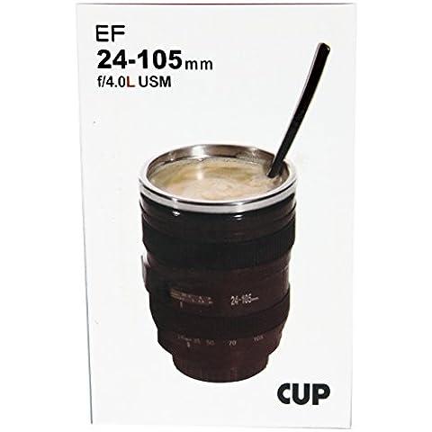 AMOS Camera Lens Cup SLR EF 24-105mm Zoom Lens Coffee Tea Travel Mug + Multipurpose Realistic Lens Hood Lid Coaster Ash Tray Pen Holder Pot Novelty Gift by AMOS