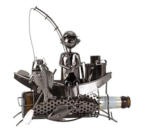 Lifestyle & More Moderner Bier Flaschenhalter Flaschenständer Fischer im Boot aus Metall in Silber 22x23 cm -