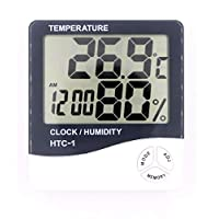 iBenzer - HTC-1 Electronic Temperature Humidity Meter Indoor Room LCD Digital Thermometer Hygrometer Weather Station Alarm Clock