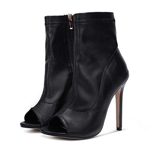 r Dünne 11,5 cm High Heels Offene Spitze Stretch Stiefel Stripper Sandalen Dame Leder Pumps Weibliche Stiletto Schuhe ()