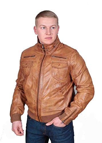 Herren Gepaßte Bomber Lederjacke Designer weiche hochwertige Mantel George hellbraun - 8