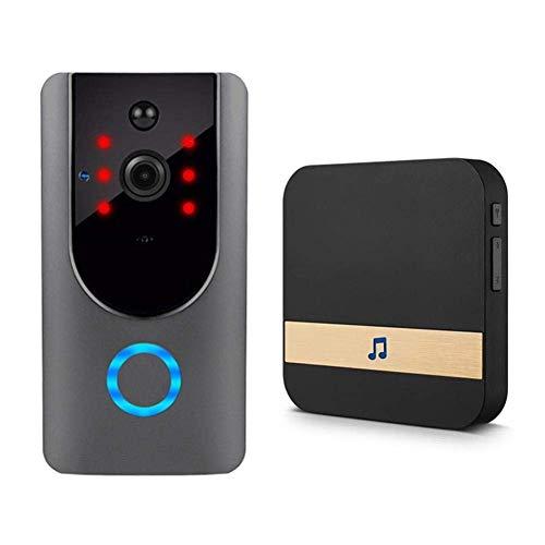 J.KM Video-Türklingel, Funkgong-Kit, Intelligente WiFi-Kamera mit Innentürklingel, Echtzeit-Nachtsicht & PIR-Bewegungserkennung & App-Steuerung für IOS und Android Pir-kit
