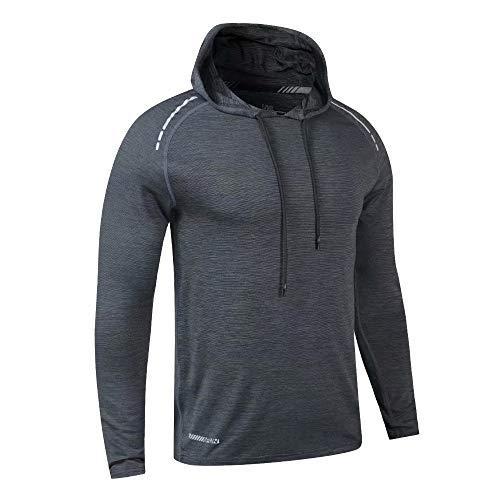 Muscle Alive Herren Lange Ärmel Kapuzenpullover Dehnbar Leicht Men Sweatshirts Polyester und Spandex