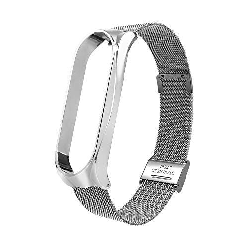 Vamoro Milanese Edelstahl Luxus Armband Metall Armband Ersatz Armbänder Milanese Mesh Loop mit Magnetverschluss Edelstahl Armband für Xiaomi Mi Band 3(Silber)