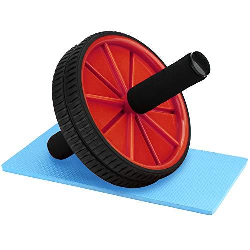 Reehut Rouleau Abdominal Wheel Roue de Fitness avec Tapis Epais pour Musculation Ventrale Genou Roues Jumelées Roug
