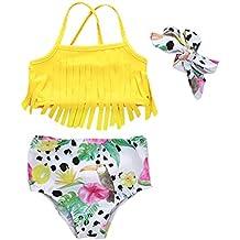 MEIbax Ragazzine in Due Pezzi con Stampa Pinguino a Righe Costumi da Bagno Costume da Bagno Bambina Cuffia a Strisce Eleganti Estivi Tankini Bambini Bikini Set Beachwear