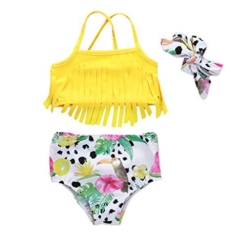 DressLksnf Kinder Mädchen Obst Print Quaste Bikini Strand Badeanzug Bade Bademode Sets Rüschen Plissee Neckholder Blumenmustert ()