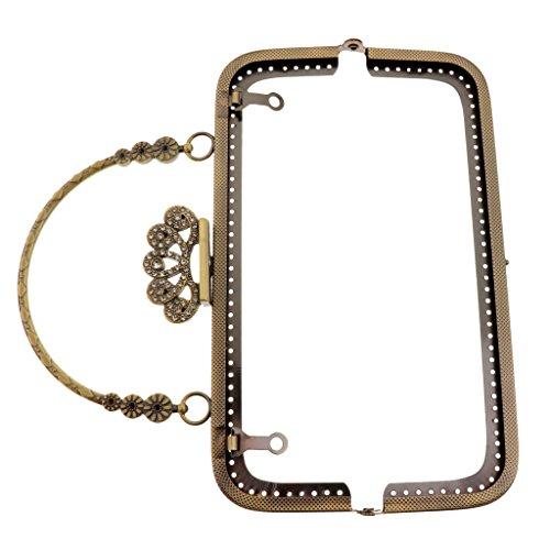 Homyl Metallrahmen Metallbügel Taschenrahmen Taschenbügel Verschluss Griff für Damen Handtaschen - Stil 4-Antik Messing