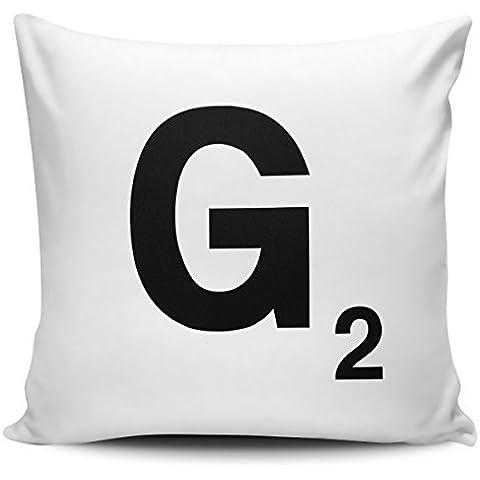Alfabeto lettera Scrabble–Federa per cuscino lettera G con inserto interno/