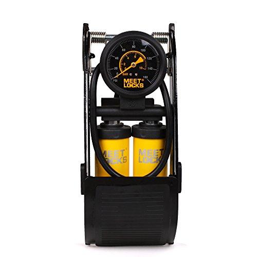 Meetlocks Pompe à pied à piston double, pompe à bicyclette de corps en aluminium 160PSI avec manomètre précis et tête de soupape intelligente pour valve Presta, Schrader & Deutschland
