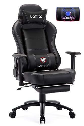UOMAX Chaise Gaming Massage Fauteuil Gamer avec Repose Pied Siege Gamer Ergonomique Fauteuil de Bureau Gamer avec Support Lombaire
