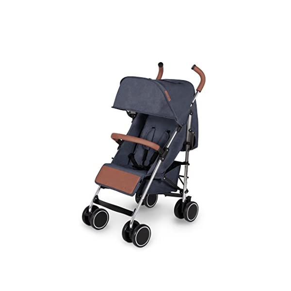 Ickle Bubba Baby Strollers   Lightweight Stroller Pushchair   Compact Fold Technology for Easy Transport and Storage   UPF 50+ Extendable Hood and Rain Cover   Discovery, Denim Blue/Silver Ickle Bubba ONE-HANDED 3 POSITION SEAT RECLINE: Baby stroller suitable from birth to 20kg-approx. 4 years old; features rain cover UPF 50+ RATED ADJUSTABLE HOOD: Includes a peekaboo window to keep an eye on the little one; extendable hood-UPF rated-to protect against the sun's harmful rays and inclement weather LIGHTWEIGHT DESIGN WITH COMPACT FOLD TECHNOLOGY: Easy to transport, aluminum frame is lightweight and portable-weighs only 7kg; folds compact for storage in small places; carry strap and leather shoulder pad included 1