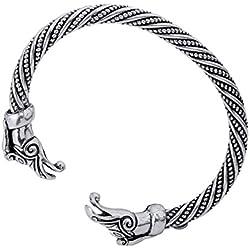 Nórdico Viking Dragon Head pulsera anillo de metal brazo de Viking Bangles Pulseras Hombres