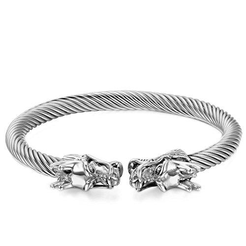 Cupimatch Herren Edelstahl Drachen Armband Silber, Elastische Verdrehten Stahlkabel Armreif Armschmuck Biker Rock Armreif Armkette