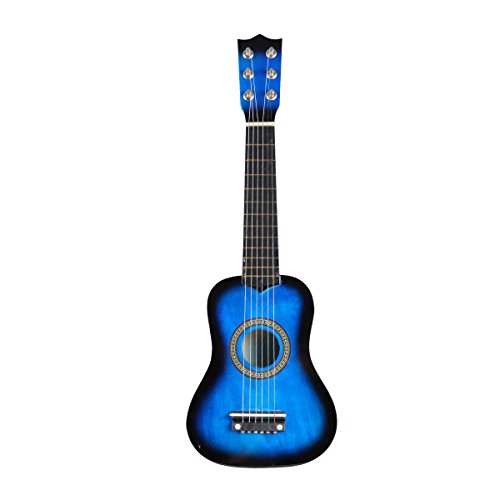 STOBOK Guitarra acústica para niños de 21 Pulgadas Principiantes portátiles Guitarra acústica de Madera Instrumento Musical para niños Niños Principiantes (Azul)