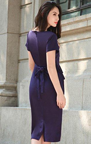 NiSeng Damen Retro Rundhals Kurzarm Abend Bleistift kleid Vintage Kleider  Partikleid Business Kleid Saphir ...