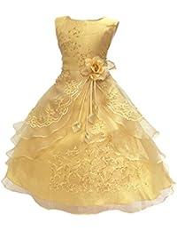 PrettyCos Elegante Vestido de Encajes de Dama de honor para Ninas Disfraz de Princesa Vestido bordado