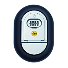 Yale Y500/187/1 Combination Key Safe Box, 4-Digit Combination, Wall Mounted, Black/Silver Finish, Suitable for Rentals or Private Residences