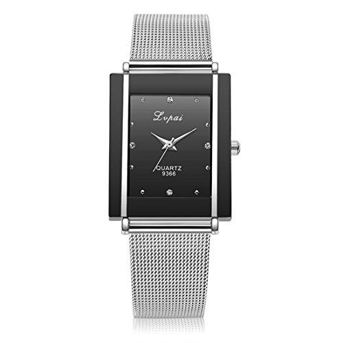 Souarts Damen Herren Armbanduhr Einfach Mesh Metallarmband Casual Analoge Quarz Uhr Schwarz (Schwarz)
