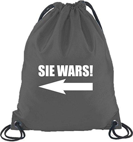 Shirtstreet24, SIE WARS! Turnbeutel Rucksack Sport Beutel Dunkelgrau