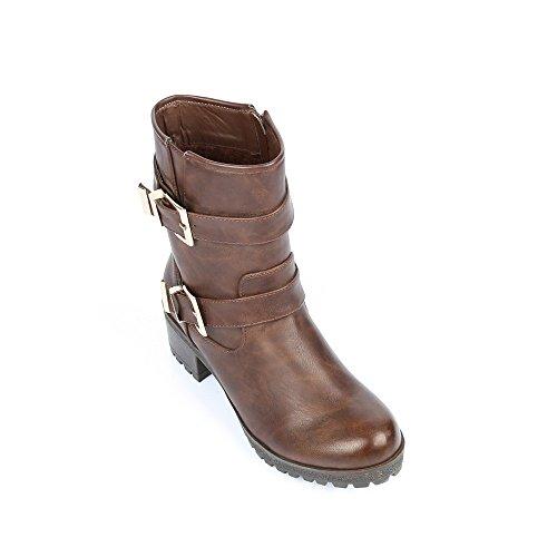 Ideal-Shoes Stiefel Biker-Optik mit Galatee koppeln Braun - braun