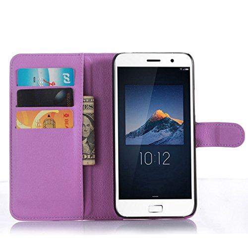 Tasche für Lenovo ZUK Z1 Hülle, Ycloud PU Ledertasche Flip Cover Wallet Case Handyhülle mit Stand Function Credit Card Slots Bookstyle Purse Design lila