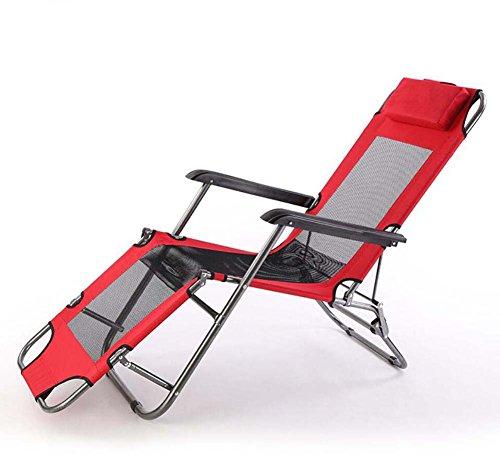 Chaises Pliantes Lounge Chaises Pliantes Siesta Lit Pliant Chaises Longues Accompagnant Lit Chaises Pliantes de Dossier Camping Pliantes avec Oreiller Accoudoir (Couleur : Rouge)