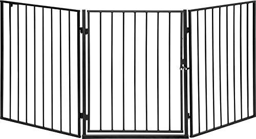ib style® CATO   Kaminschutzgitter   erweiterbar   Doppelverschluss   3tlg/ 180cm Schwarz (Für Zaun Kinder Tür)