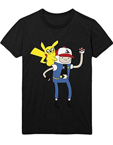 T-Shirt Pokemon Go TEAM INSTINCT Adventure TIme Mashup Finn and Jake Hype Kanto X Y Nintendo Blue Red Yellow Plus Hype Nerd Game C123137 Schwarz (Misty Kostüme Und Ash)