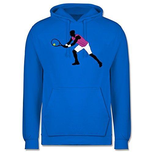 Tennis - Tennis Squash Spieler beide Arme am Schläger - Männer Premium Kapuzenpullover / Hoodie Himmelblau