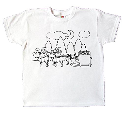 Kinder T-Shirt Weihnachten zum bemalen und ausmalen mit Vordruck Spiel kreatives Geschenk Kleinkind unisex für Jungen und Mädchen (128)