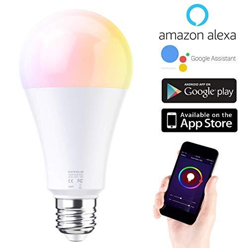 Smart WLAN LED Lampe Glühbirnen E27 Birne RGB Wifi Bulb mit Mehreren Farben Glühbirne 10W 1050LM, steuerbar via App dimmbare, kompatibel mit Alexa Echo, Google Assistant