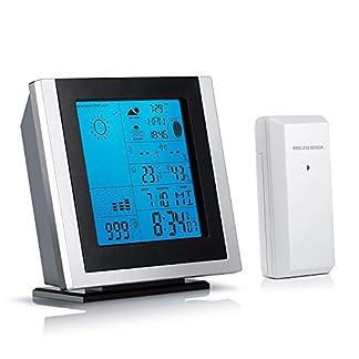 Brandson – Estación meteorológica con Sensor Externo 301519 – Temperatura higrómetro Alarma Interior y Exterior, etc. Iluminación de la Pantalla LED en Azul