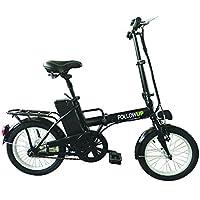 Follow Up Revoe REVTRO15, Bicicletta Pieghevole Elettrica, Ruote da 16 pollici, Nero